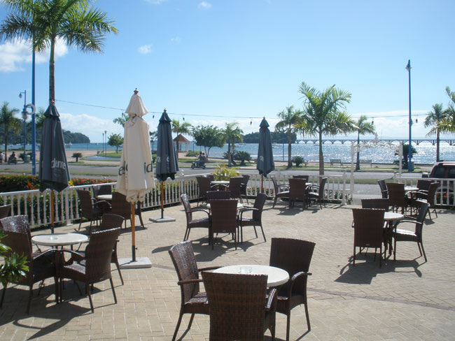 Bahia Azul Bar Restaurant in town of Samana, The Largest Outdoor Terrace with Free WIFI in Samana...View of the Bay and Marina in the town of Samana...