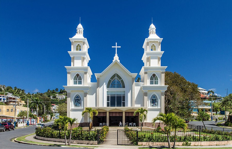 The newly renovated Catholic Church downtown Samana.