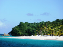 Spectacular public beach of the island Cayo Levantado, just a few minutes away by boat from the village of Samana