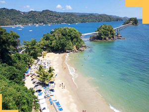 Playa Cayacoa beach and Bridges to Nowhere of Samana town Dominican Republic.