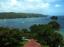Beautiful scenic view of Samana Peninsula from Samana City in Dominican Republic.